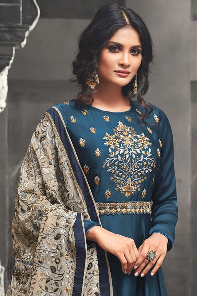 Indi Fashion Blue Silk and Satin Floor Length Party Wear Suit