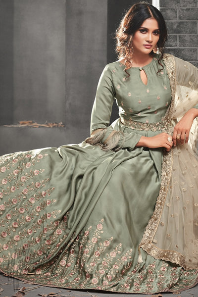 Indi Fashion Light Olive Silk and Satin Floor Length Party Wear Suit