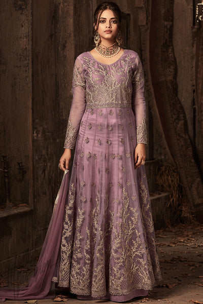Indi Fashion Mauve Net and Satin Layered Ankle Length Party Wear Suit
