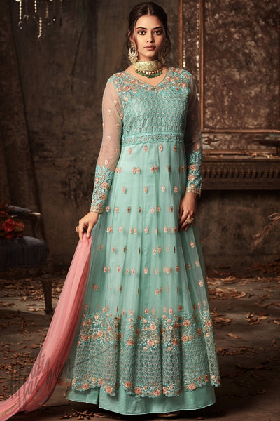 Indi Fashion Light Blue Net and Satin Layered Ankle Length Party Wear Suit