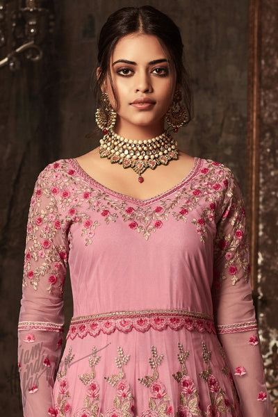 Indi Fashion Pink Net and Satin Layered Ankle Length Party Wear Suit