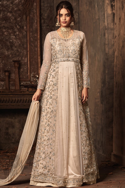 Indi Fashion Cream Net and Satin Layered Ankle Length Party Wear Suit