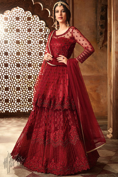 Blood Red Net Layered Floor Length Anarkali Suit