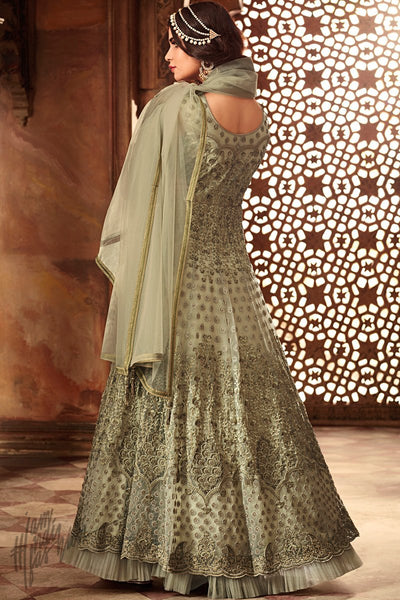 Sage Green Net Floor Length Anarkali Suit