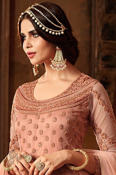 Salmon Pink Net Floor Length Anarkali Suit