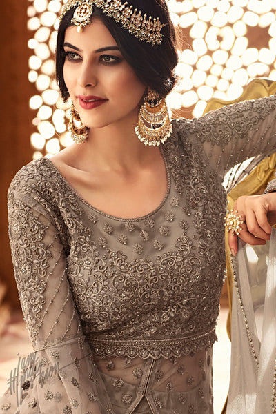 Antique Gray Net Lehenga Style Suit