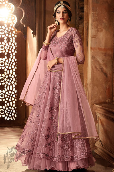 Onion Pink Net Floor Length Anarkali Suit