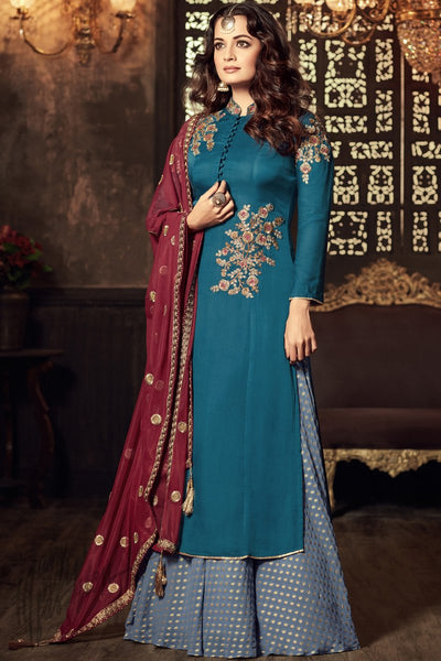 Indi Fashion Blue and Maroon Viscose Party Wear Palazzo Suit