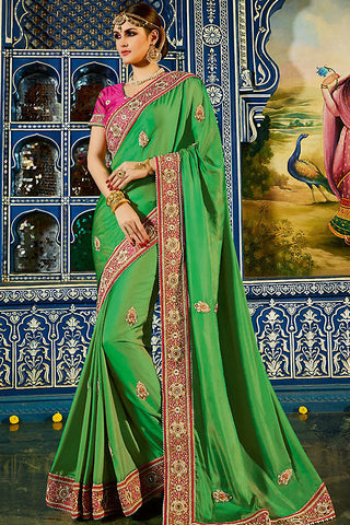Indi Fashion Urja Green and Pink Art Silk Party Wear Saree