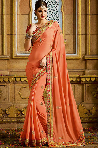 Indi Fashion Peach and Red Georgette Party Wear Saree