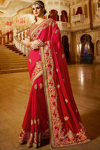 Indi Fashion Aradhya Red and Beige Silk Party Wear Saree