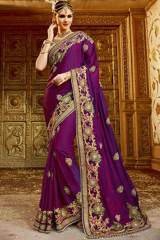 Indi Fashion Pooja Purple and Beige Silk Party Wear Saree