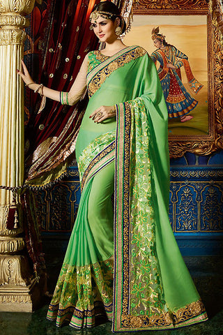 Indi Fashion Haya Green Chiffon and Net Party Wear Saree