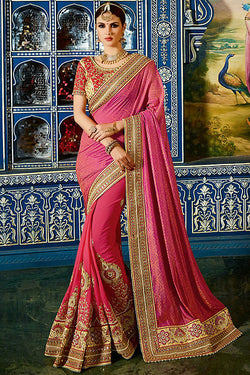 Indi Fashion Shrishti Pink and Red Georgette and Silk Party Wear Saree
