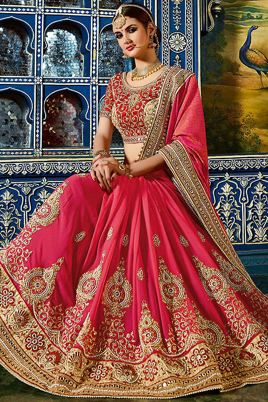 Shrishti Pink and Red Georgette and Silk Party Wear Saree