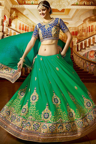 Indi Fashion Sangini Green and Blue Georgette and Silk Party Wear Saree