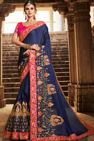 Indi Fashion Indigo Blue and Hot Pink Silk Saree