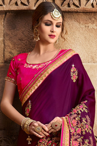 Indi Fashion Plum Purple and Fuchsia Pink Silk Saree