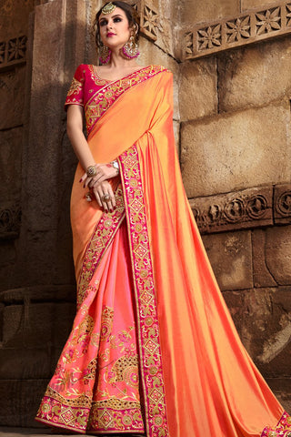 Indi Fashion Orange and Pink Half and Half Silk Saree