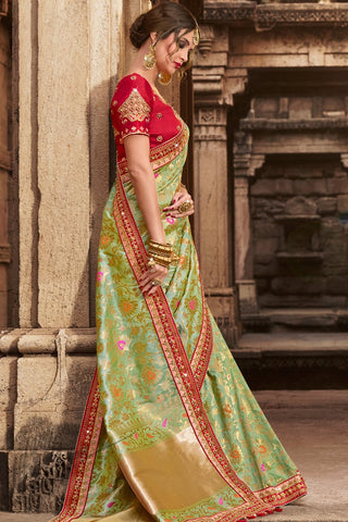 Indi Fashion Pistachio Green and Red Silk Saree