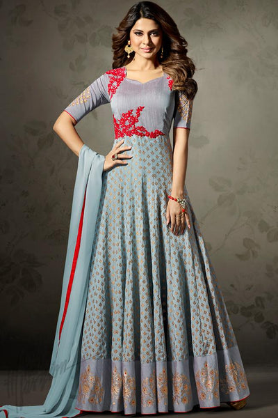 Indi Fashion Gray Silk Jacquard Party Wear Suit