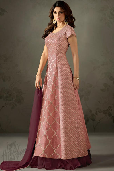 Indi Fashion Onion Pink and Purple Silk Suit with Skirt
