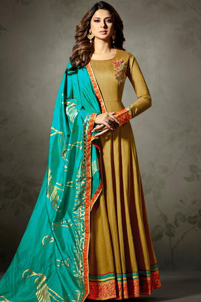 Indi Fashion Olive and Sea Green Banarasi Silk Party Wear Suit