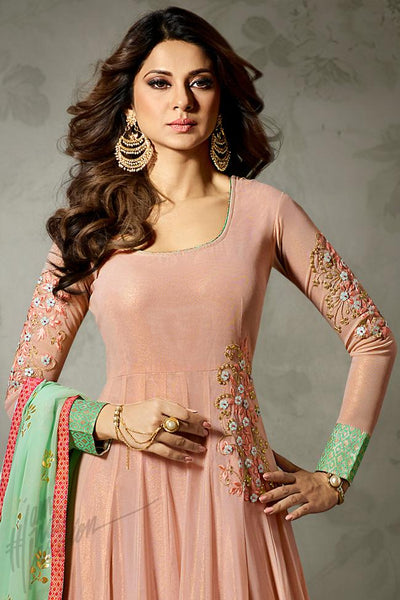 Indi Fashion Soft Peach and Pastel Green Lycra Chiffon Party Wear Suit