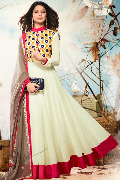Indi Fashion Light Lemon Green and Brown Georgette and Silk Party Wear Suit