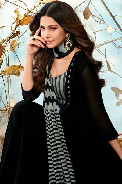Indi Fashion Black and Gray Georgette Party Wear Suit