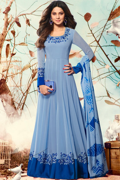 Indi Fashion Blue Georgette and Silk Party Wear Suit