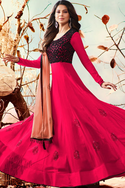 Indi Fashion Magenta and Peach Georgette Party Wear Suit