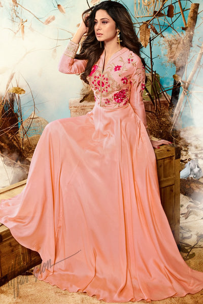 Indi Fashion Baby Pink Satin and Silk Party Wear Suit