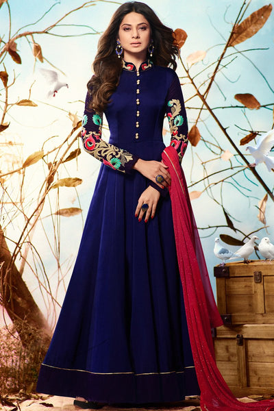 Indi Fashion Navy Blue and Red Satin Georgette Party Wear Suit