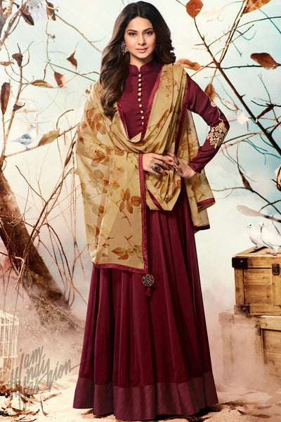 Indi Fashion Wine and Beige Georgette Party Wear Suit