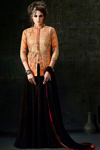 Indi Fashion Orange and Black Maroon Georgette Jacket Style Anarkali Suit
