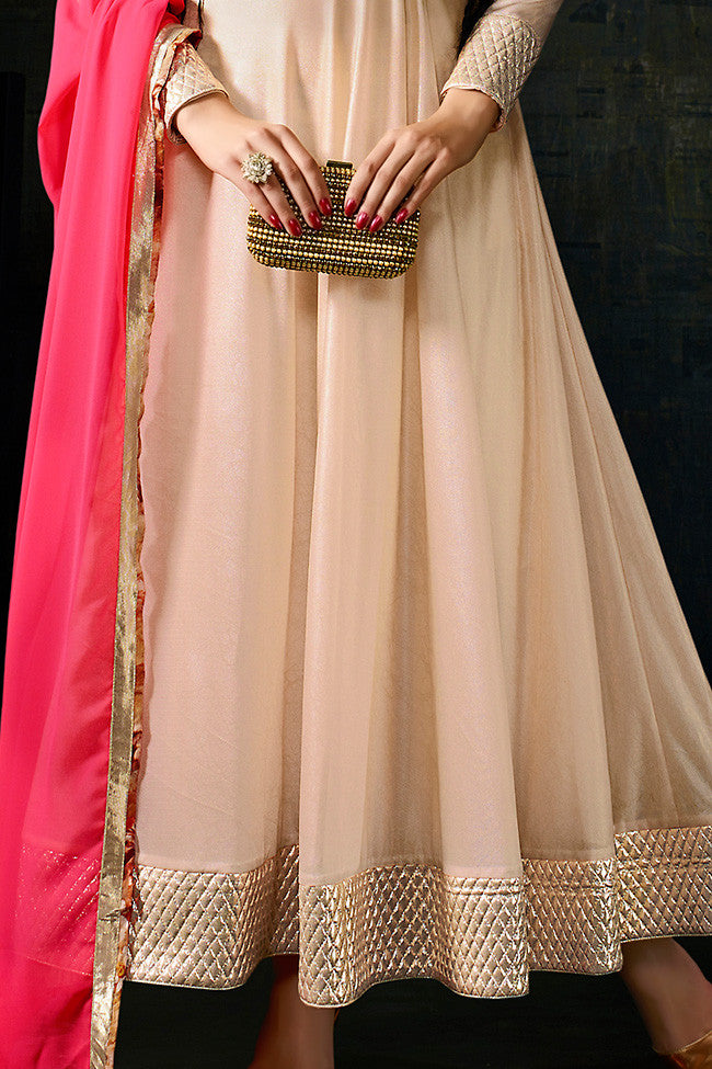 Buy Light Peach and Pink Lycra Anarkali Suit Online at indi.fashion