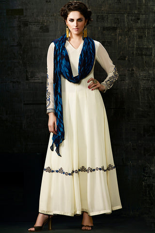 Indi Fashion Off White and Blue Georgette Anarkali Suit