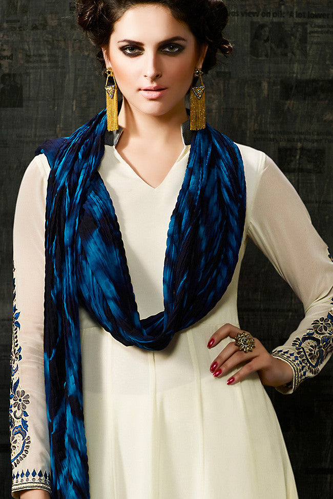 Buy Off White and Blue Georgette Anarkali Suit Online at indi.fashion