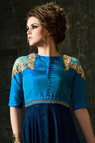Indi Fashion Blue Silk and Georgette Anarkali Suit