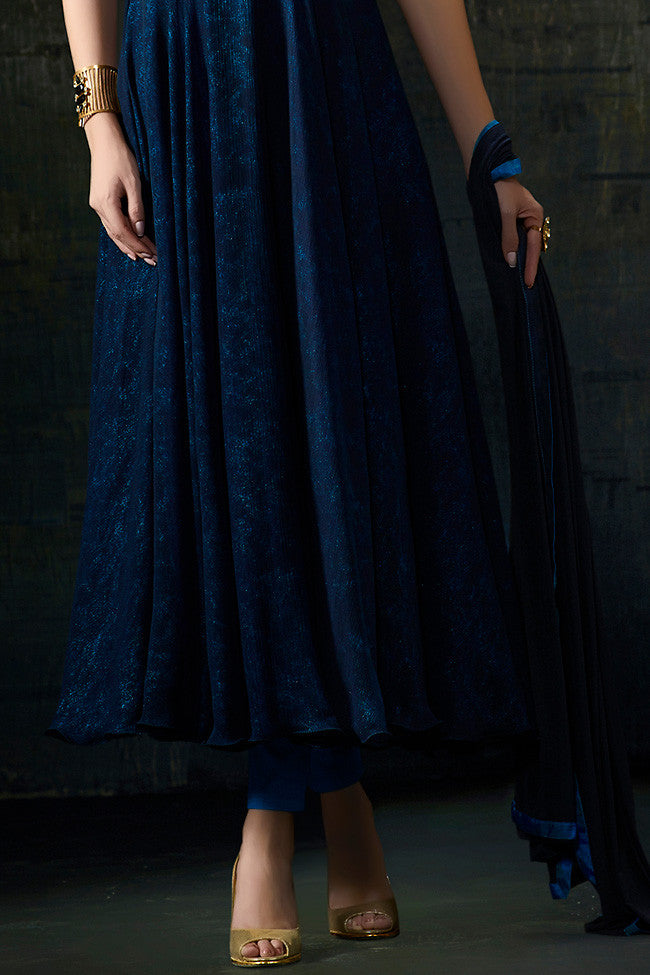 Buy Blue Silk and Georgette Anarkali Suit Online at indi.fashion