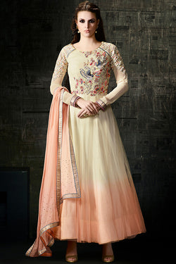 Indi Fashion Cream and Peach Ombre Net and Georgette Anarkali Suit