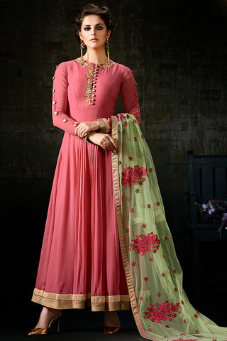 Indi Fashion Pink and Green Georgette Anarkali Suit