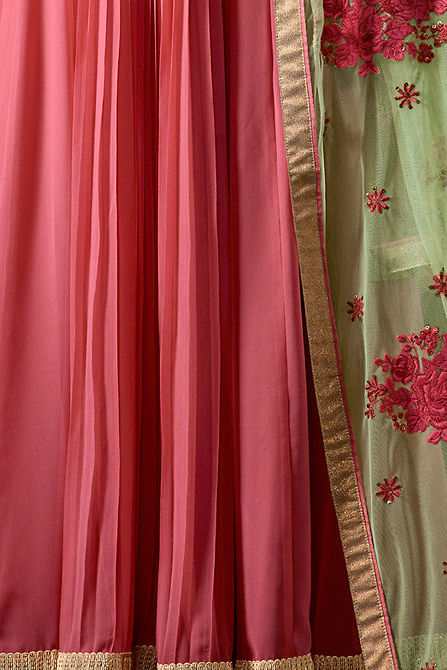 Buy Pink and Green Georgette Anarkali Suit Online at indi.fashion