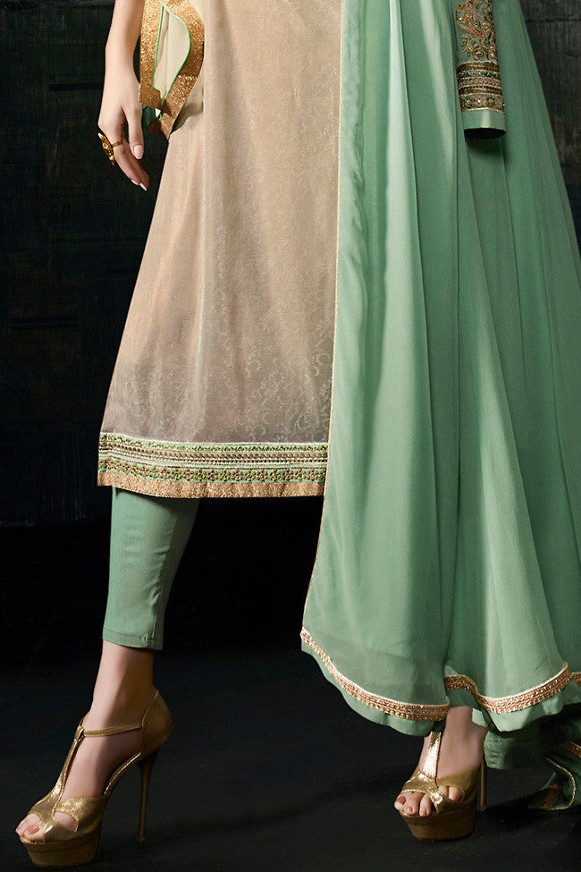 Indi Fashion Sea Green and Beige Georgette Long Jacket Style Suit