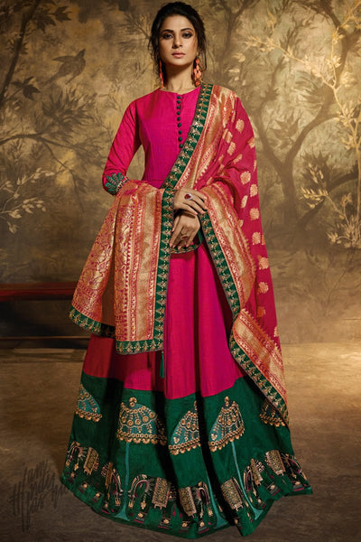 Magenta and Forest Green Dual Tone Silk Anarkali Gown