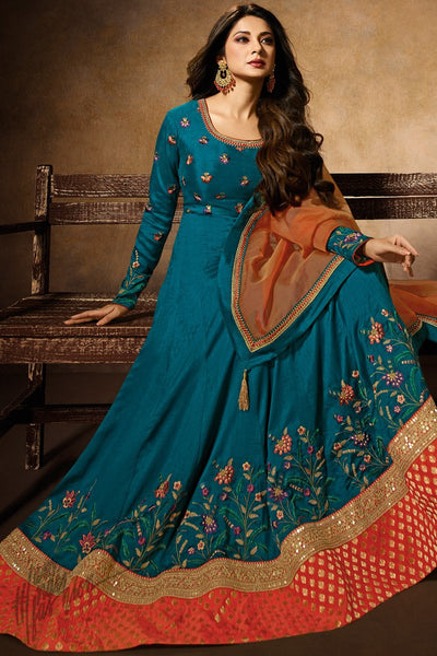 Peacock Blue and Orange Banarasi Silk Anarkali Gown
