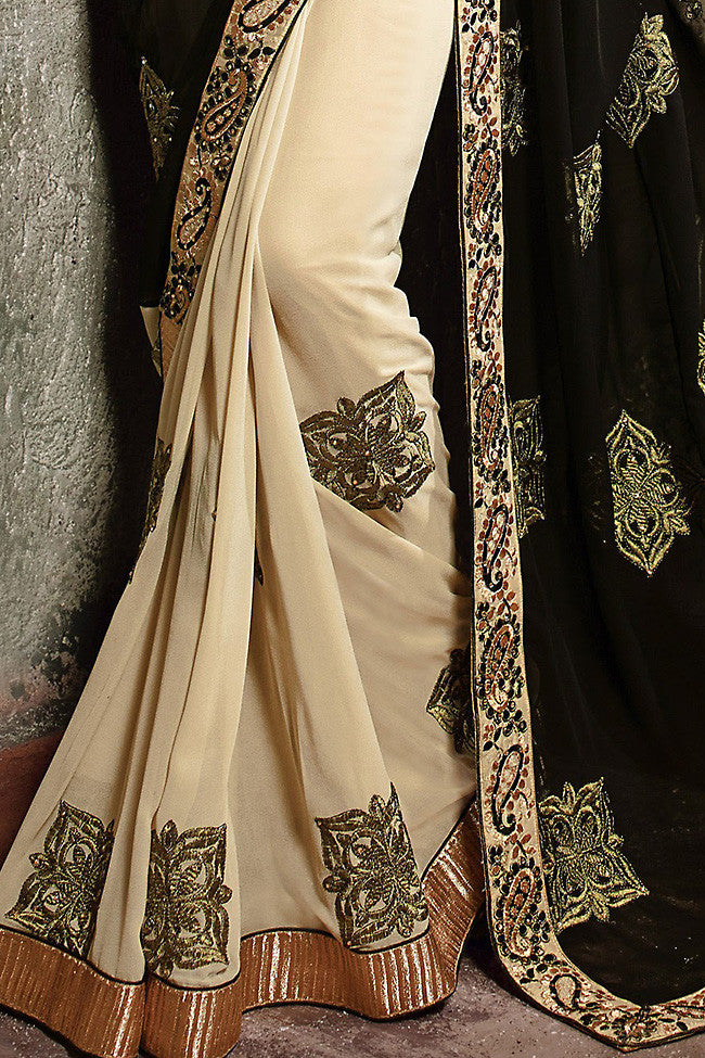 Black and Cream Georgette Embroidered Saree