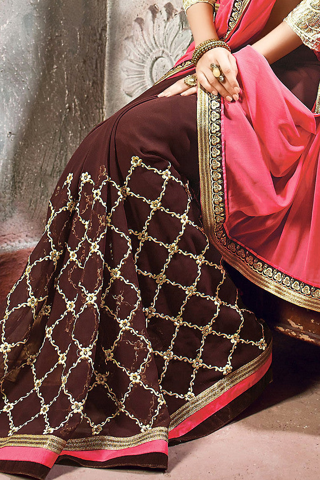 Pink and Chocolate Georgette Embroidered Saree