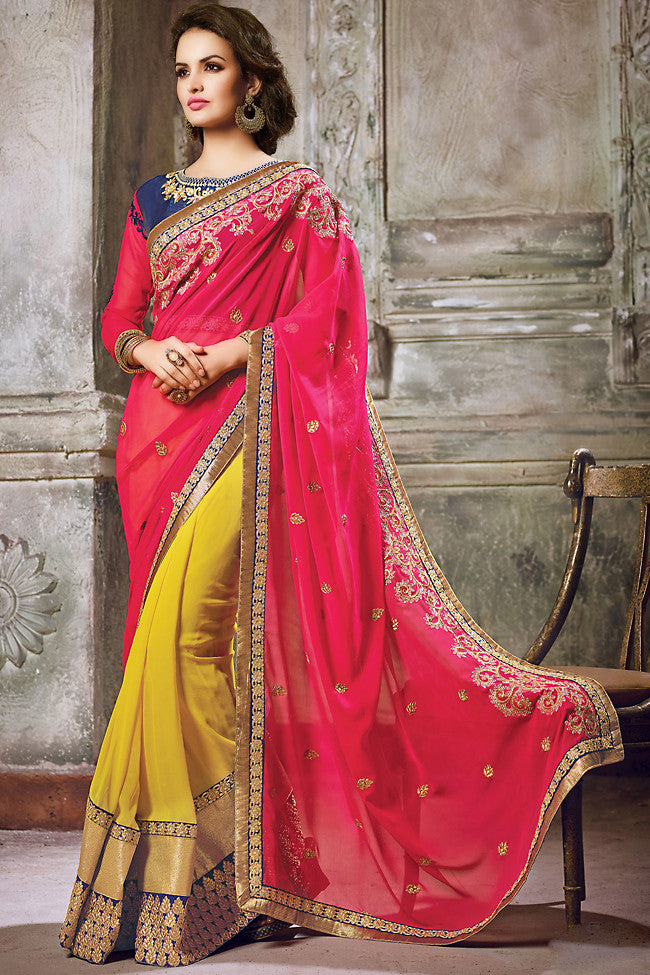 Indi Fashion Pink Blue and Mustard Yellow Georgette Embroidered Saree